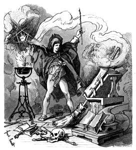 Illustration of Der Zauberlehrling. From: Goethe's Werke, 1882, drawing by Ferdinand Barth (1842--1892).
